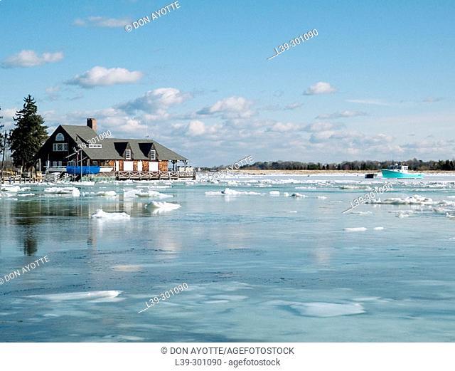 Winter view of Hingham Harbor. Massachusetts, USA