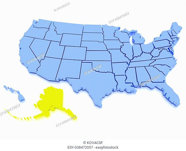 a 3D rendered map of USA - State Alaska