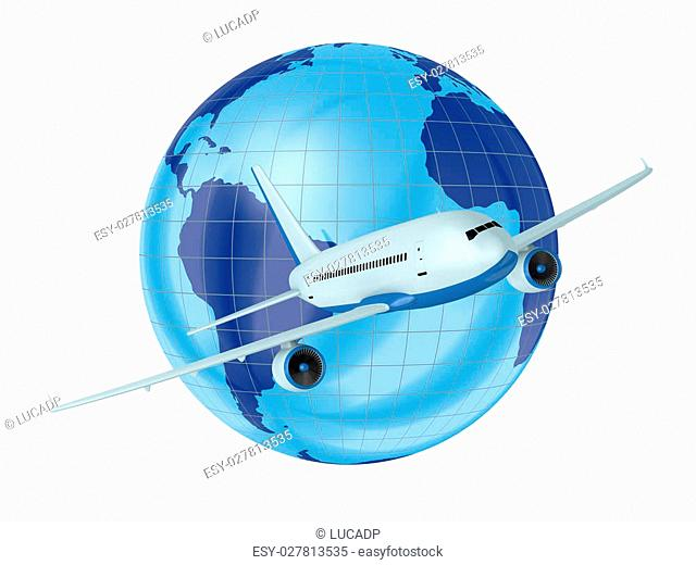 one airplane with a world globe in background (3d render)