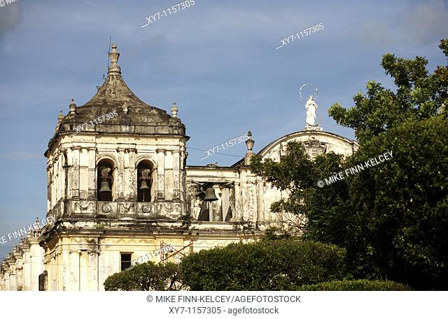 The Cathedral in Parque Central in Leon in Nicaragua