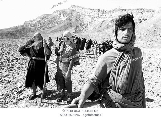 Italian actor and director Michele Placido playing Caleb in a scene from the TV mini-series 'Moses the Lawgiver'. The mini-series in many episodes tells about...