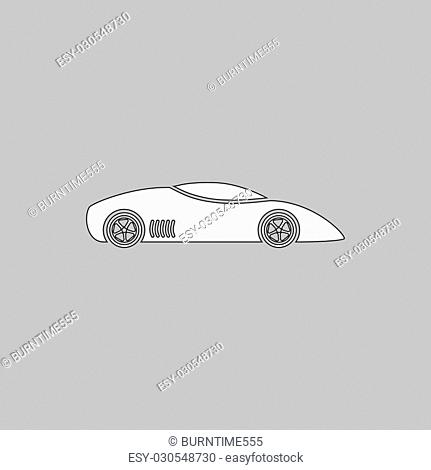 sport car Simple line vector button. Thin line illustration icon. White outline symbol on grey background