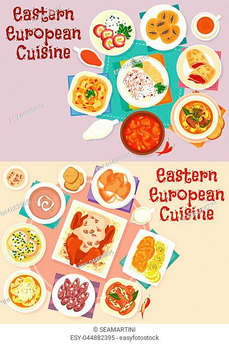 Eastern european cuisine menu icon set with beef, duck and fish baked with sauce, bread and meat soup, pickled sausage, vegetable beef stew, meat roll