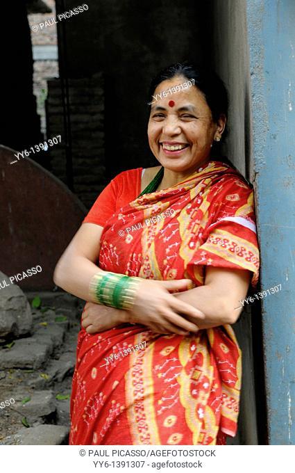 smiling happy nepalese hindu lady, the nepalis , life in kathmandu , kathmandu street life , nepal