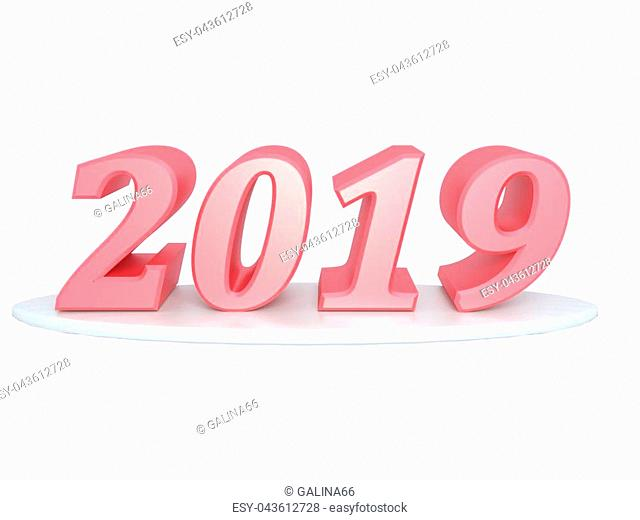 Happy New Year 2019. Inscription of red color. Render. Set