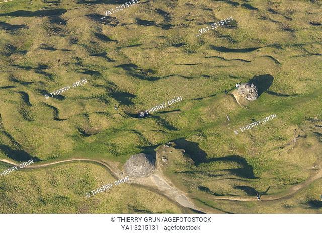France, Meuse (55), Verdun, WWI battle fields, Douaumont, fort (aerial view)