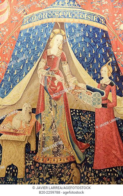 The Lady and the Unicorn. La Dame à la licorne. Paris, 1500. Musee du Moyen-Age Middle Ages Museum, the former Hotel de Cluny. Musée de Cluny. Paris
