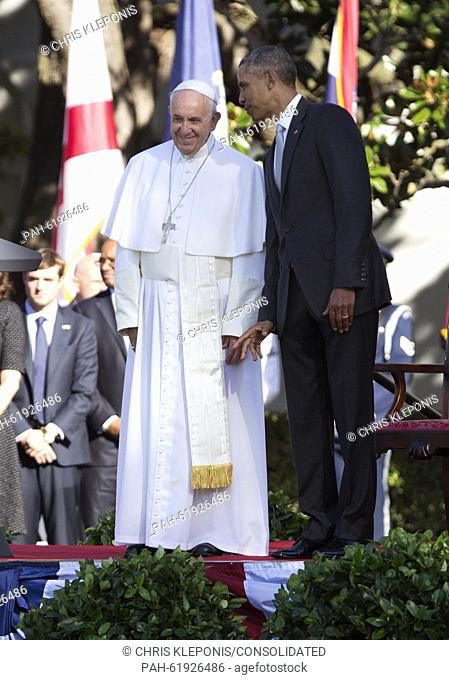 United States President Barack Obama hosts an Official State Welcome ceremony for Pope Francis on the South Lawn of the White House in Washington