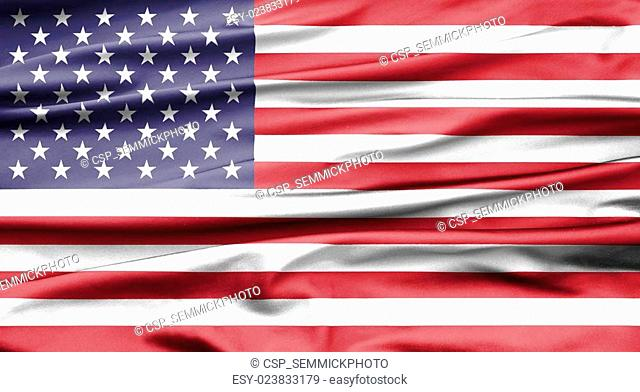 Soft velvet looking flag of the USA with folds
