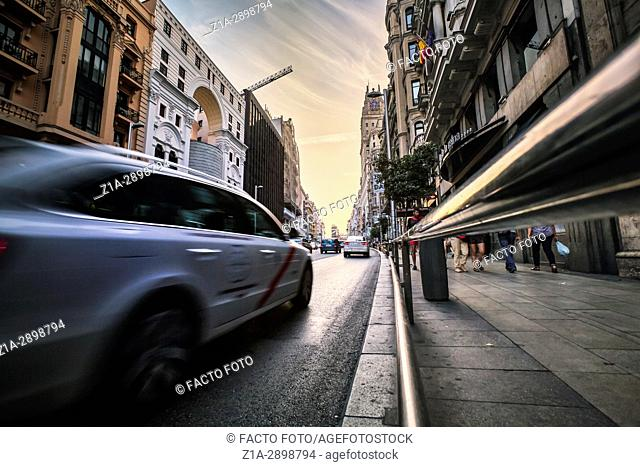 Traffic at Gran Via street. Madrid. Spain