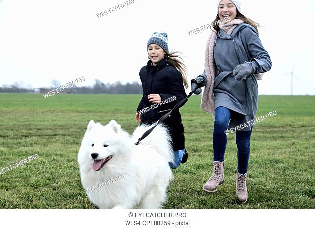 Two girls running on a meadow with dog having fun