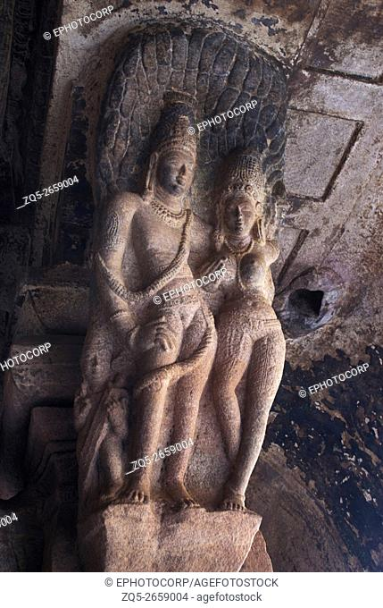 Cave 3 : Brackets of the pillars, shows a Kama scene on one pillar, where a woman and a man are in maithuna (erotic) embrace beneath a tree