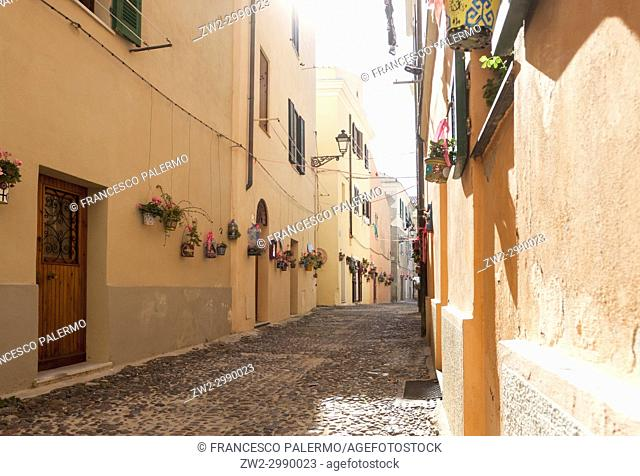 View of small streets in the historic center. Alghero, Sardinia. Italy