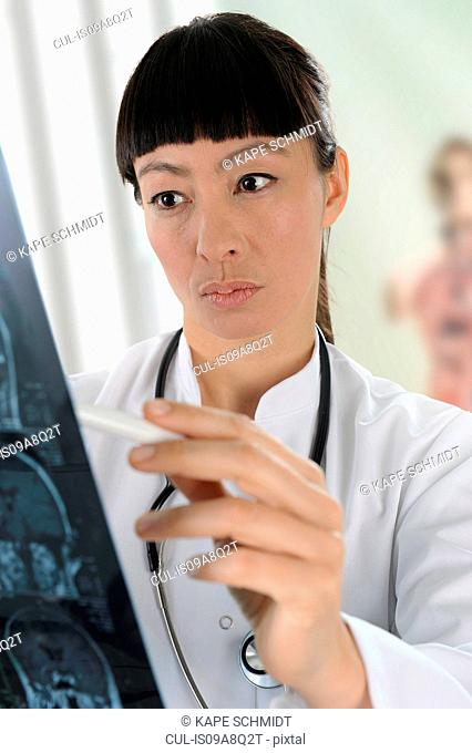 Female doctor looking at scan