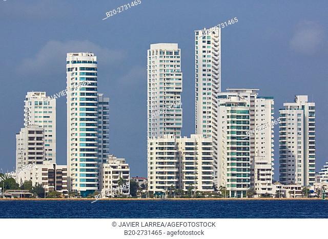 City waterfront, Bahia de Las Animas, Bocagrande, Cartagena de Indias, Bolivar, Colombia