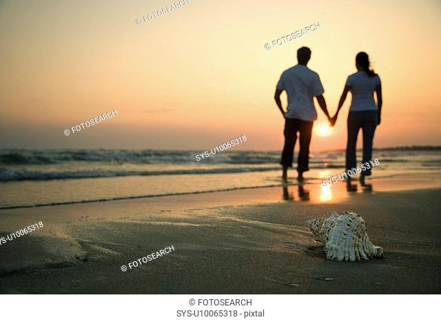 Back view of mid-adult couple holding hands walking on beach with seashell in foreground