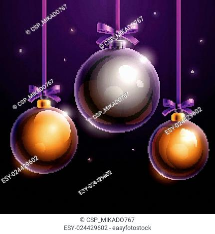 Christmas tree silver and golden realistic shiny glass balls on