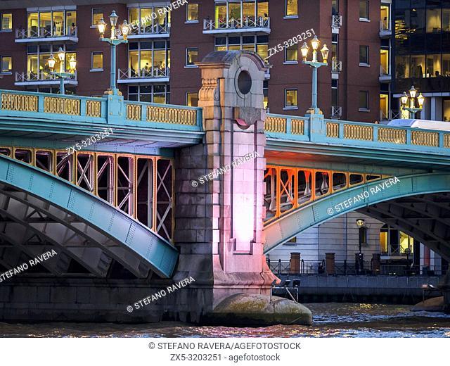 Blackfriars bridge by night - London, England