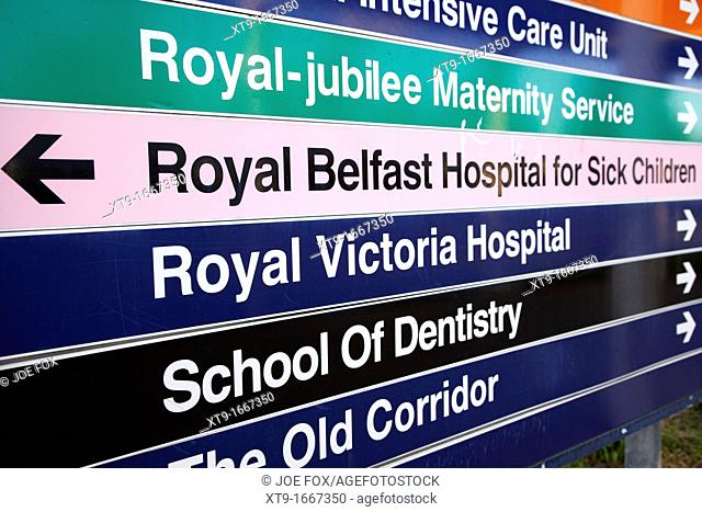 royal victoria hospital nhs hospital direction signs signpost Belfast Northern Ireland UK
