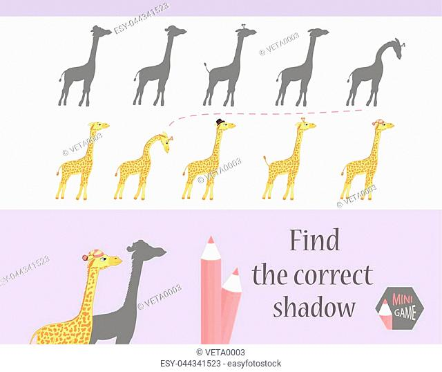 Find the correct shadow, education game for children. Cute Cartoon animals and Nature. vector illustration. giraff
