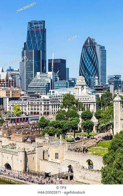 England, London, City Skyline and Thames River from Tower Bridge