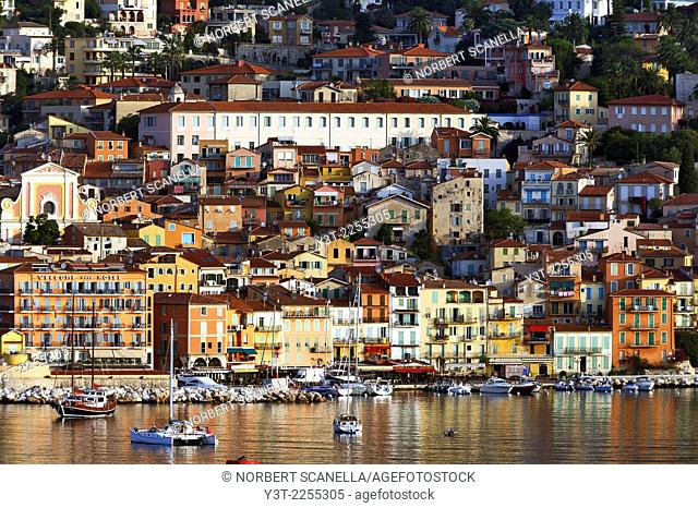 Europe, France, Alpes-Maritimes, Villefrance-sur-Mer. Colored houses of old town at early morning