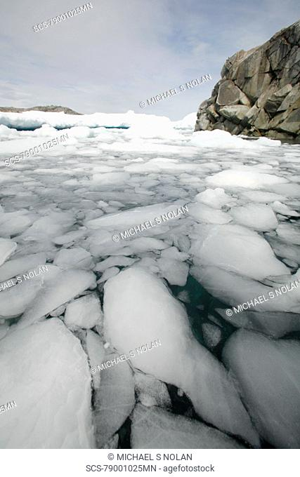 A view of an ice-choked bay on Petermann Island near Lemaire Channel, Antarctica