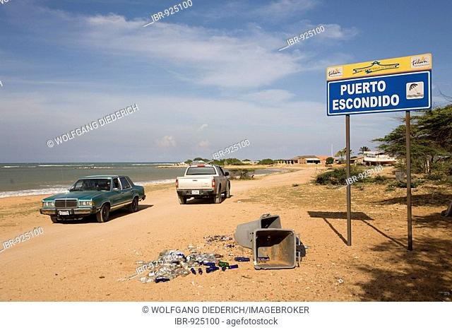 Cars on the beach, Puerto Escondido, Paraguana Peninsula, Venezuela, South America