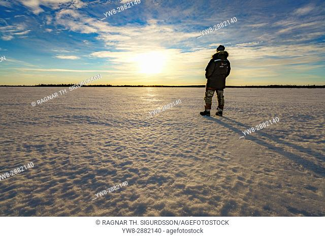 Watching the sunset, Kangos, Lapland, Sweden. Kangos is a locality situated in Pajala Municipality, Norrbotten County, Swedish Lapland
