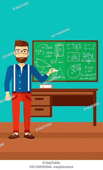 A hipster man with the beard standing in classroom in front of the blackboard with a piece of chalk in his hand vector flat design illustration