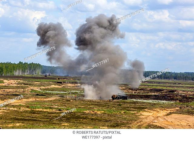 "Explosion and smoke. International Military Training """"Saber Strike 2017"""", Adazi, Latvia, from 3 to 15 June 2017. US Army Europe-led annual International..."