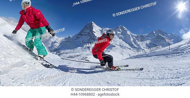 Ski, skiing, Kleine Scheidegg, Eiger, monk, Mönch, Jungfrau, mountain, mountains, ski, skiing, Carving, winter, winter sports, canton Bern, Bernese Alps
