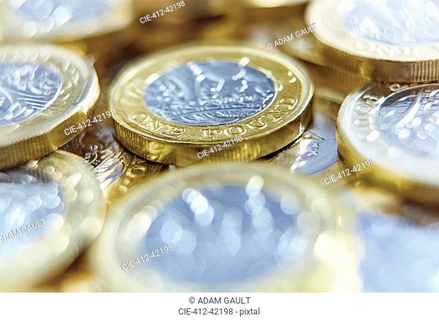 Close up one pound coins