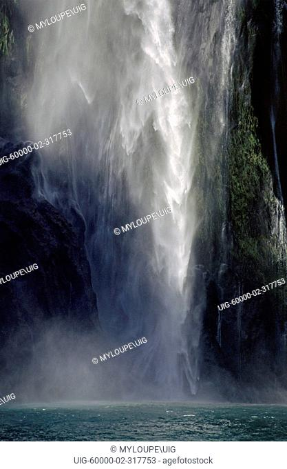 Detail of STERLING FALLS which drops 151 meters into MILFORD SOUND actually a FIORD - FIORDLAND NATIONAL PARK, NEW ZEALAND'S SOUTH ISLAND