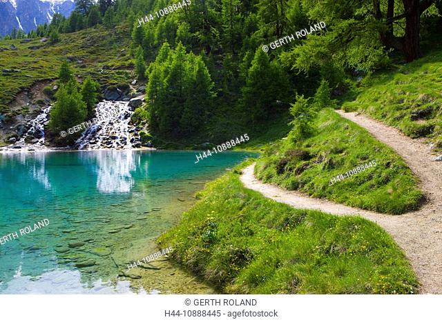 Lac blue, Switzerland, Europe, canton Valais, nature reserve Val d'Hérens, lake, color, brook, spring, source, trees, larches, way