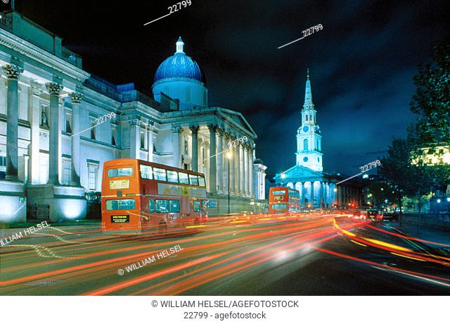 Trafalgar Square: National Gallery and Saint Martin in the Fields church. London. England