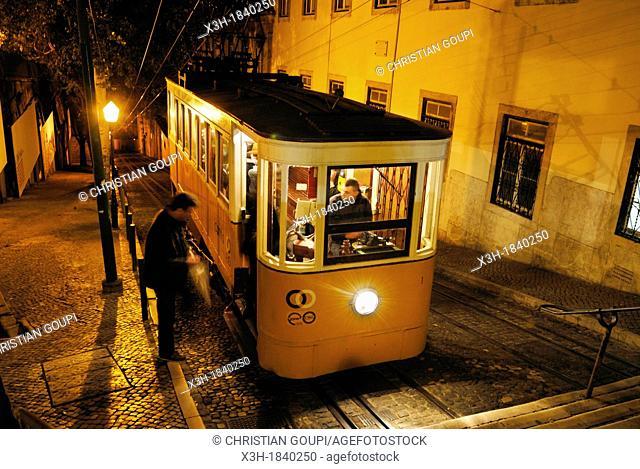 Gloria Funicular that links Baixa with Bairro Alto district, Lisbon, Portugal, europe