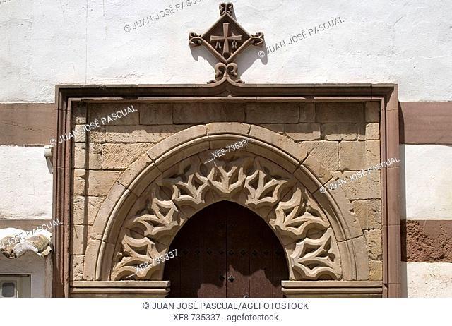 Detail of door, church of San Bartolome, Montoro. Cordoba province, Andalucia, Spain