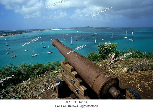 Fort Marigot has traditional gun emplacements overlooking the sea channel in the harbour at St Martin