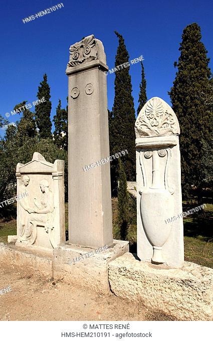 Greece, Attica, Athens, Kerameikos site, Ancient Cemetery, Street of Tombs