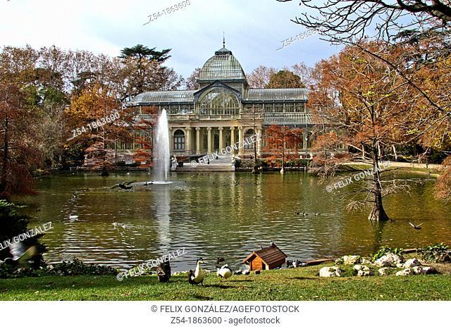 Glass Palace at Retiro Park in Autumn, Madrid, Spain