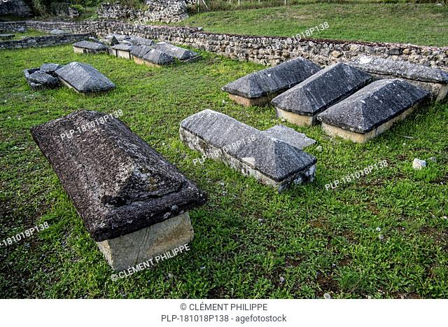 Sarcophagi among remains of the 5th century Early Christianity / Early Church basilica at Saint-Bertrand-de-Comminges, Haute-Garonne, Pyrenees, France