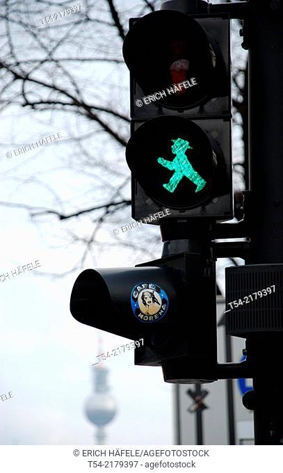 Green Pedestrian traffic lights in Berlin
