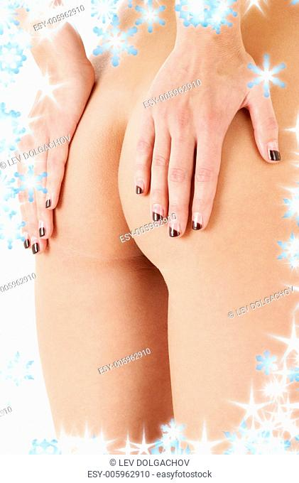 classical image of voluptuous female curves with snowflakes
