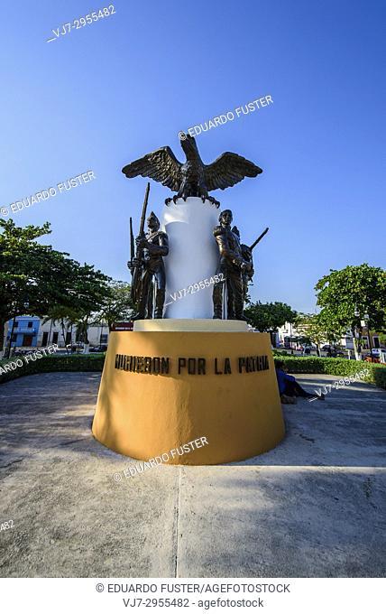 Mexican soldiers statue in the historic center, Merida, Riviera Maya, Yucatan Province, Mexico, Central America