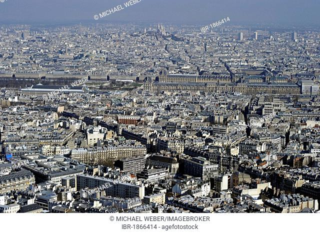 Cityscape towards the north with the bank of the Seine, Palais Royal, Louvre, Sacre-Coeur, Montmartre, Paris, France, Europe
