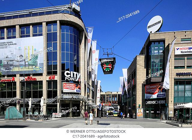 Germany, Bochum, Ruhr area, Westphalia, North Rhine-Westphalia, NRW, City Point Drehscheibe, business premises, shopping centre, shopping arcade, traffic light