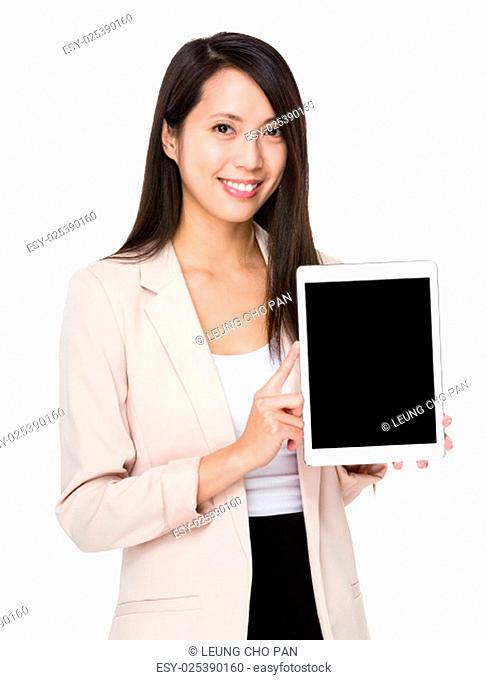 Business woman show with tablet