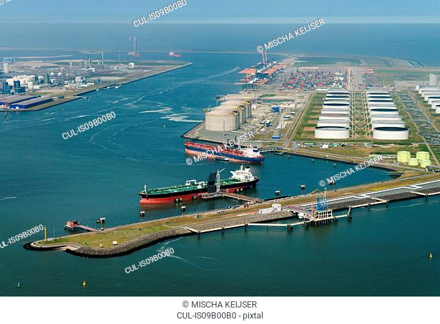Aerial shot of the newly created land, that forms the newest part of the Rotterdam Harbour, Rotterdam, South Holland, Netherlands