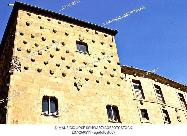 'La casa de las conchas', 'House of seashells' in the old quarter in Salamanca, Spain